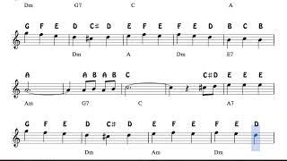 Los Campanilleros Notes Christmas Sheet Music for Flute Violin Oboe Voice    Easy Carol Song Villanc