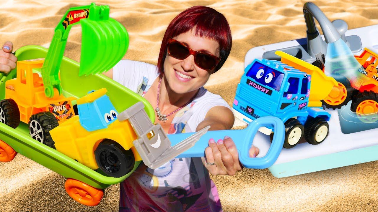 Машинки в песочнице - Развивающее видео и Маша Капуки - Игры в машинки для детей