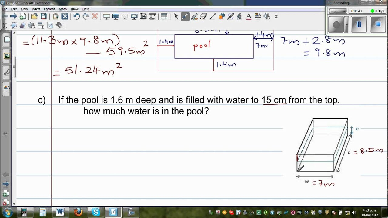 Finding Area Volume Of A Swimming Pool Youtube