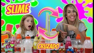 SLIME CRUZADO CON MI MADRE!! Slime Challenge | Juegos con Slime Daniela Go