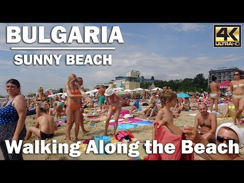 Walking Along the Beach in Sunny Beach Bulgaria [4K]