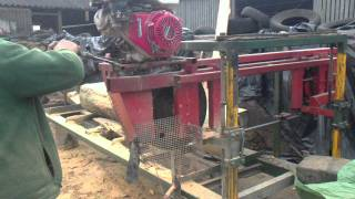 Home Made Bandsaw Sawmill Cutting Seasoned Pine Tree Trunk Into Slabs/timber. Honda Engine Saw.