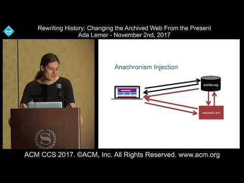 ACM CCS 2017 - Rewriting History: Changing the Archived Web from the Present - Ada Lerner