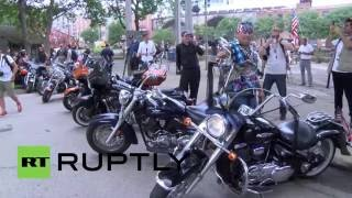USA: 'Bikers for Trump' roll into Cleveland as Republican National Convention kicks off