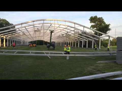 Building, Installing and lifting of a Losberger 30m large temporary event structure