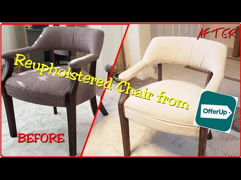 HOW TO REUPHOLSTER A CHAIR | NO SEW | DIY