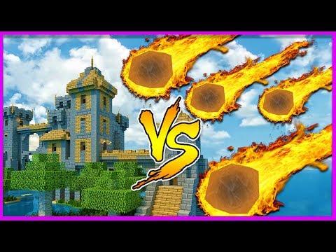 Minecraft - METEOR SHOWER VS CASTLE (Will it survive?)