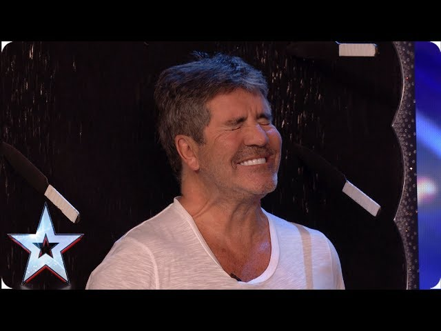 DANGER! Gomonov Knife Show throw 8 KNIVES at Simon Cowell | Auditions | BGT 2019
