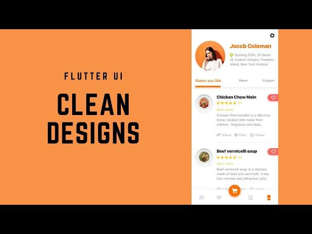 FlutterUI - Clean Designs - Gourmet takeaway app
