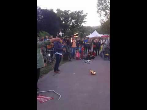 fire woman in theater festival