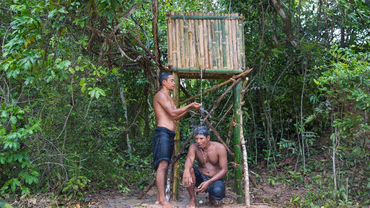 Primitive Technology: Build Water Tank From Mud ,Bamboo