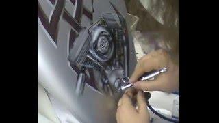 Atelier Meijer - Carla's Harley Davidson fuel tank airbrush