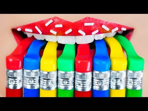 How to Sneak Candy in Class! School Pranks and 15 DIY Edible School Supplies!