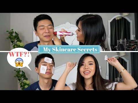 Doing My Skincare Routine... On My Boyfriend LOL (Indo Subs)