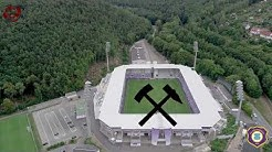 Das Neue Stadion in Aue aus der Luft mit dem Steigerlied | oben360