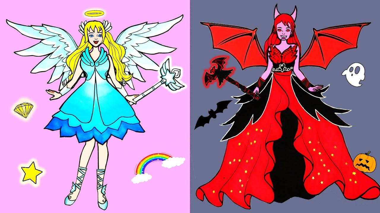 DIY Paper Dress Up - Costume Angel and Devil Girl Dress Handmade - Fairy Tales #11