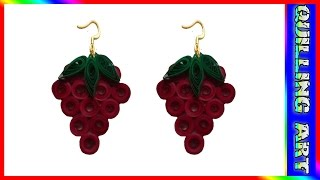 Ppaper Quilling: how to make paper quilling -strawberry earrings(red and green)