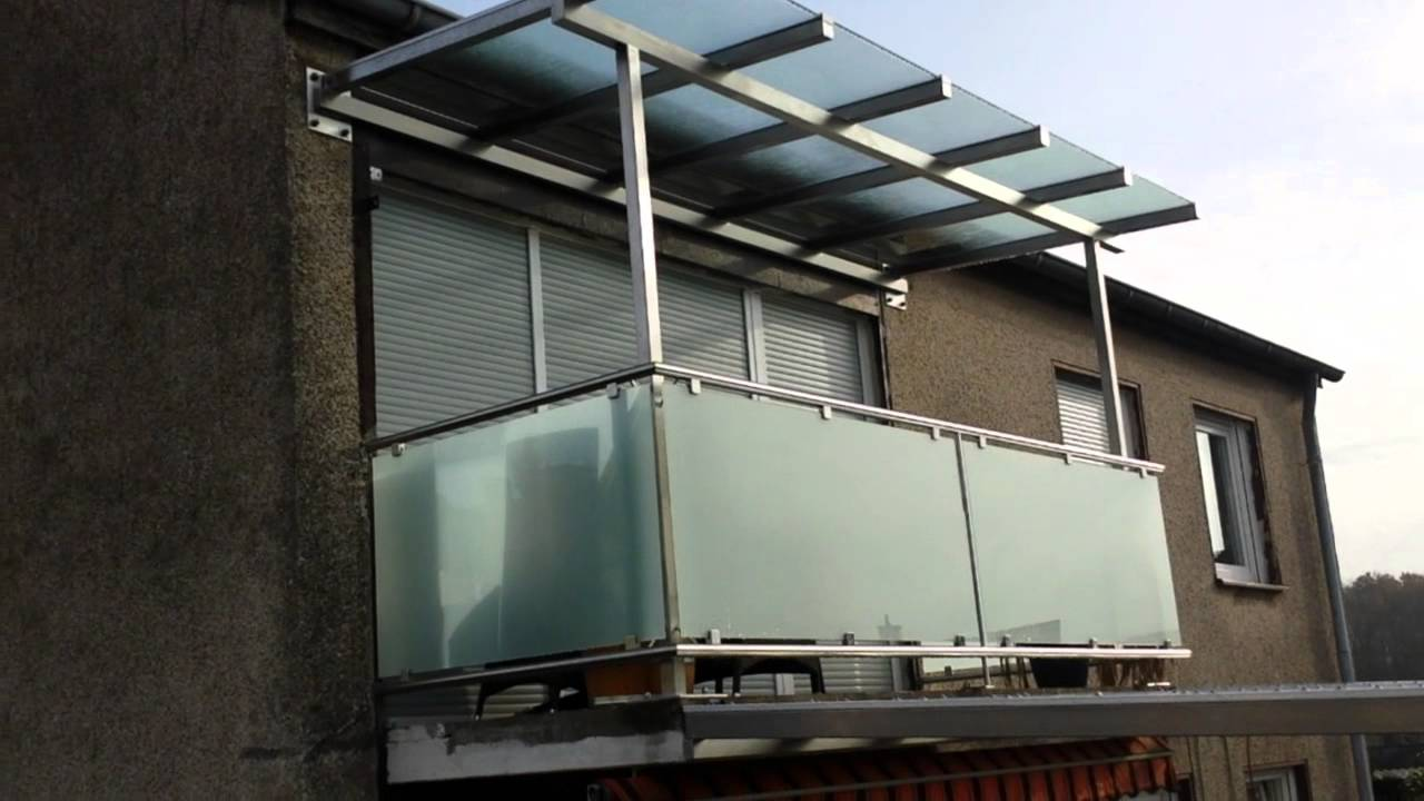 balkongelaender und ueberdachung aus edelstahl mit