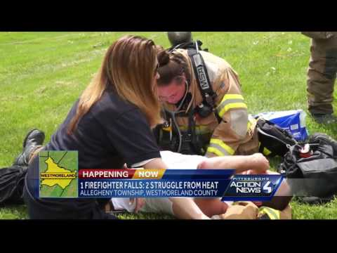 1 firefighter falls, 2 struggle from heat in Allegheny Township fire