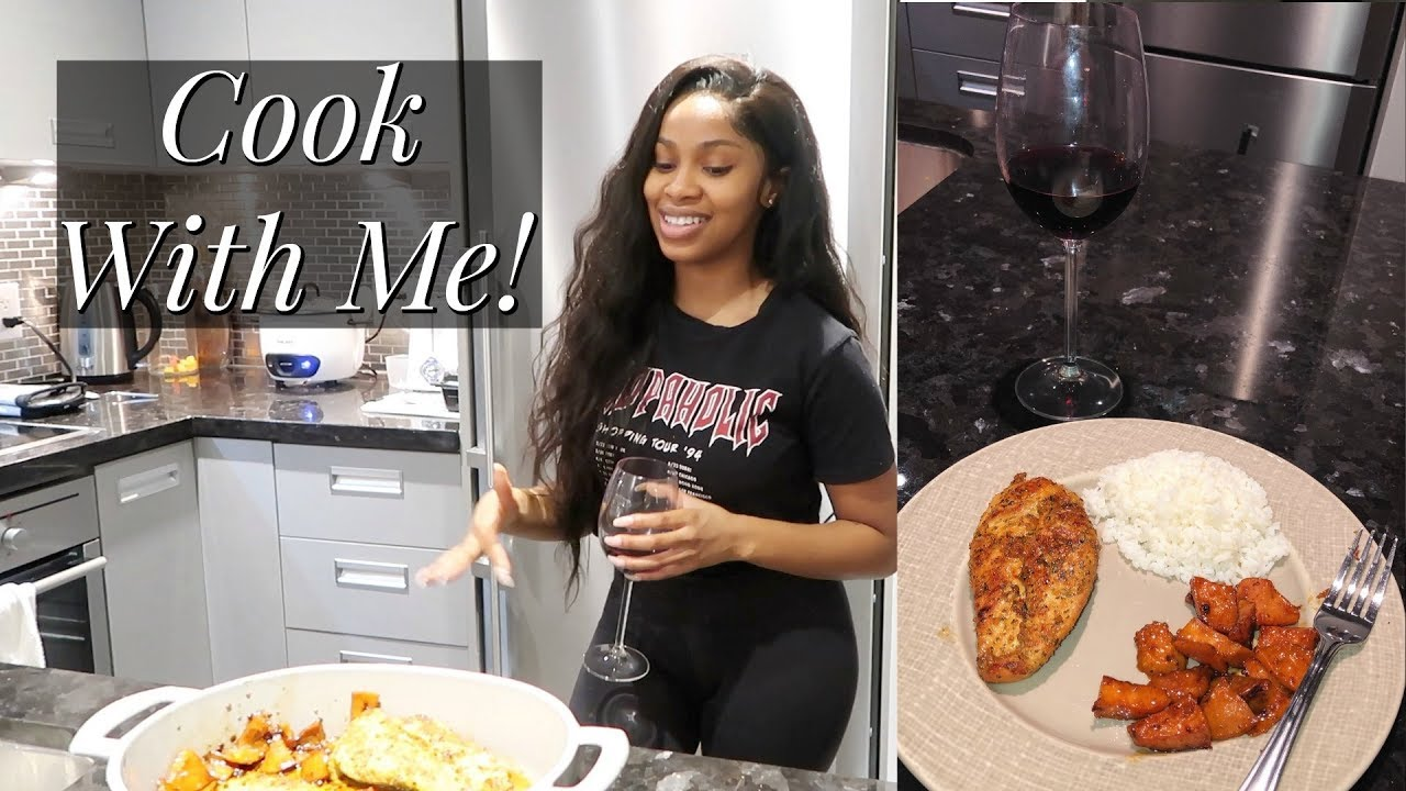 COOK WITH ME! | Honey Glazed Chicken Breast, Sweet Potatoes, & White Rice!