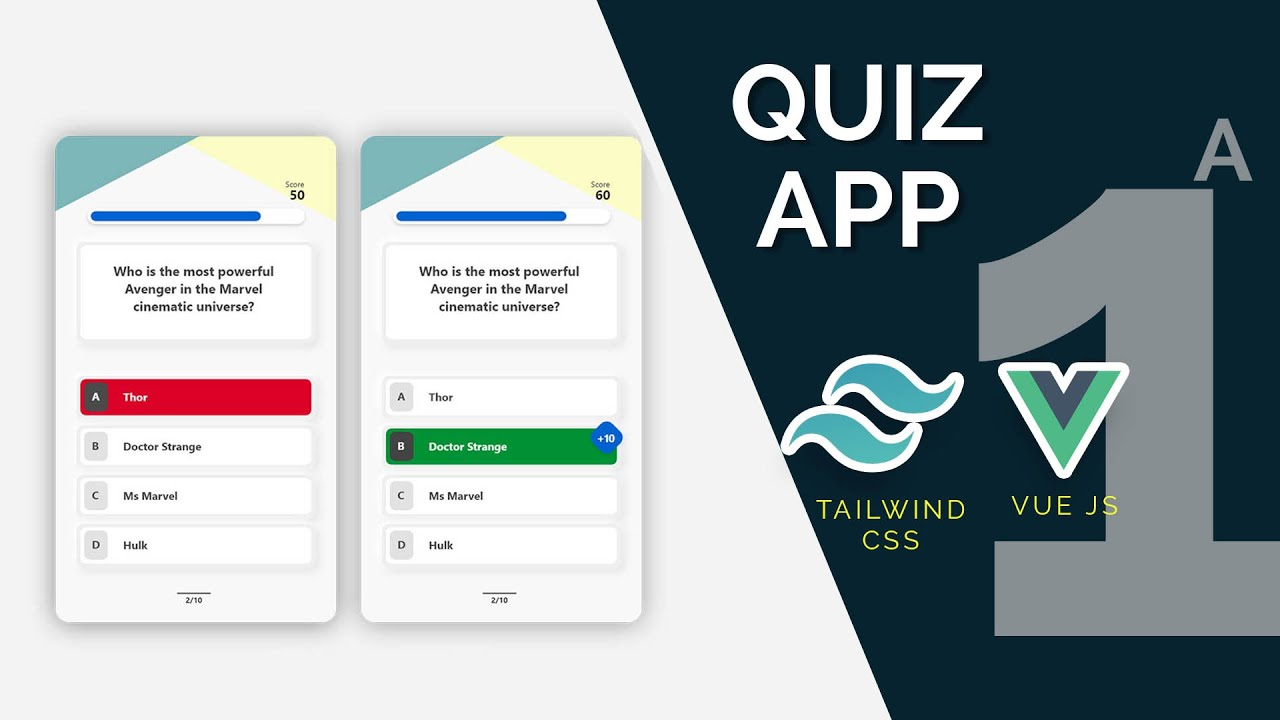 Quiz App with Vue, Tailwind and Open Trivia API Part 1(A): Quiz UI Design with Tailwind