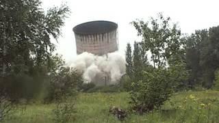 wyburzenie komina elektrociepłowni Lublin 30 lipca 2011
