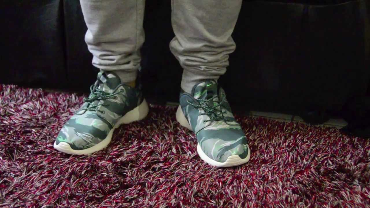 best sneakers acd4f 20f07 ... purchase nike roshe run gpx green tiger camo pack on feet youtube 080dc  e3016