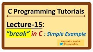 """C-Programming Tutorials : Lecture-15 - """"break"""" in C - explained"""