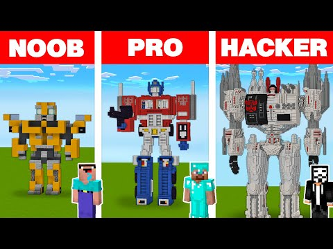 Minecraft NOOB vs PRO vs HACKER: TRANSFORMER ROBOT HOUSE BUILD CHALLENGE in Minecraft Animation