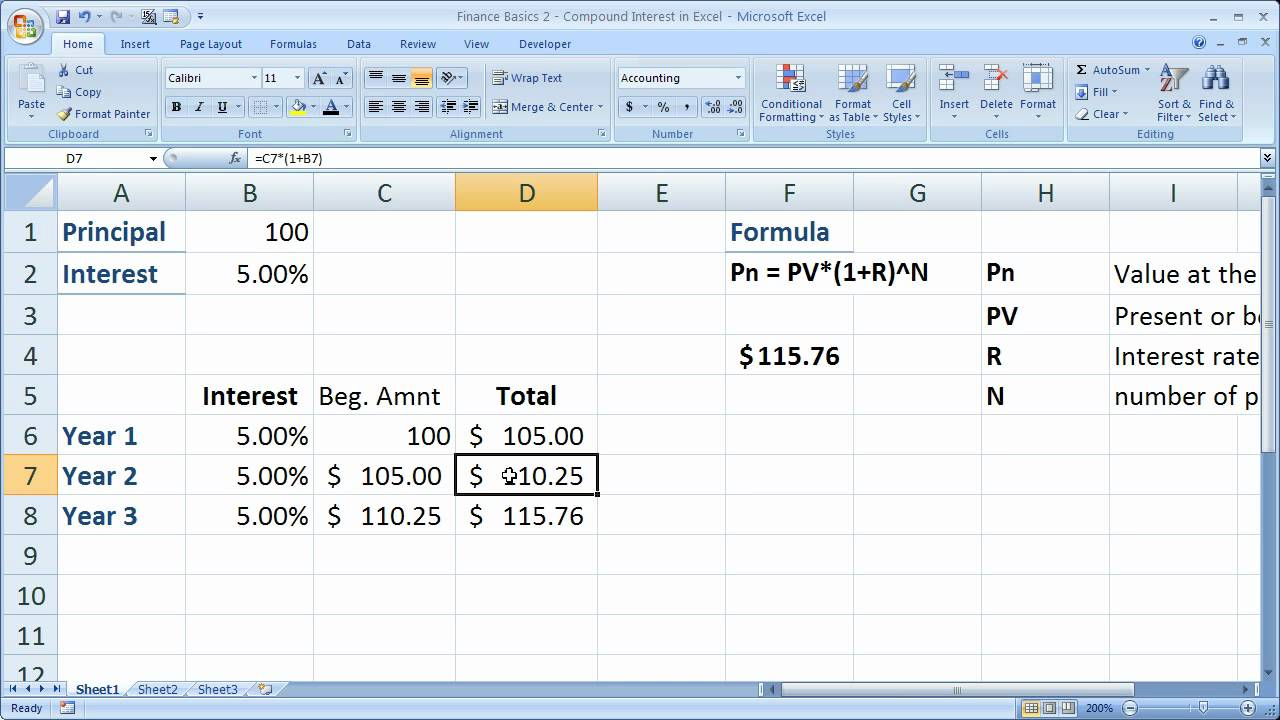 Finance Basics 2 - Compound Interest in Excel - YouTube