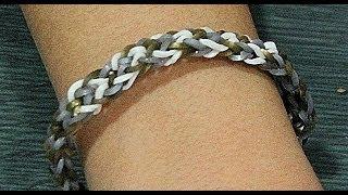 Repeat youtube video Comó hacer pulsera de gomitas inversa sin telar. Rainbow loom bracelet