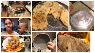 Friday evening routine/suji cutlet for kids/peanut laddu/cooker cleaning/exercising with kids