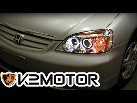K2 MOTOR INSTALLATION VIDEO: 2001-2003 HONDA CIVIC HEAD LIGHTS / PROJECTOR HEAD LIGHTS