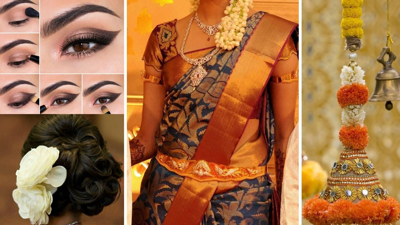 South Indian Bridal Saree Makeup and Hairstyle Step By Step | Traditional Bridal Makeup Tips ...