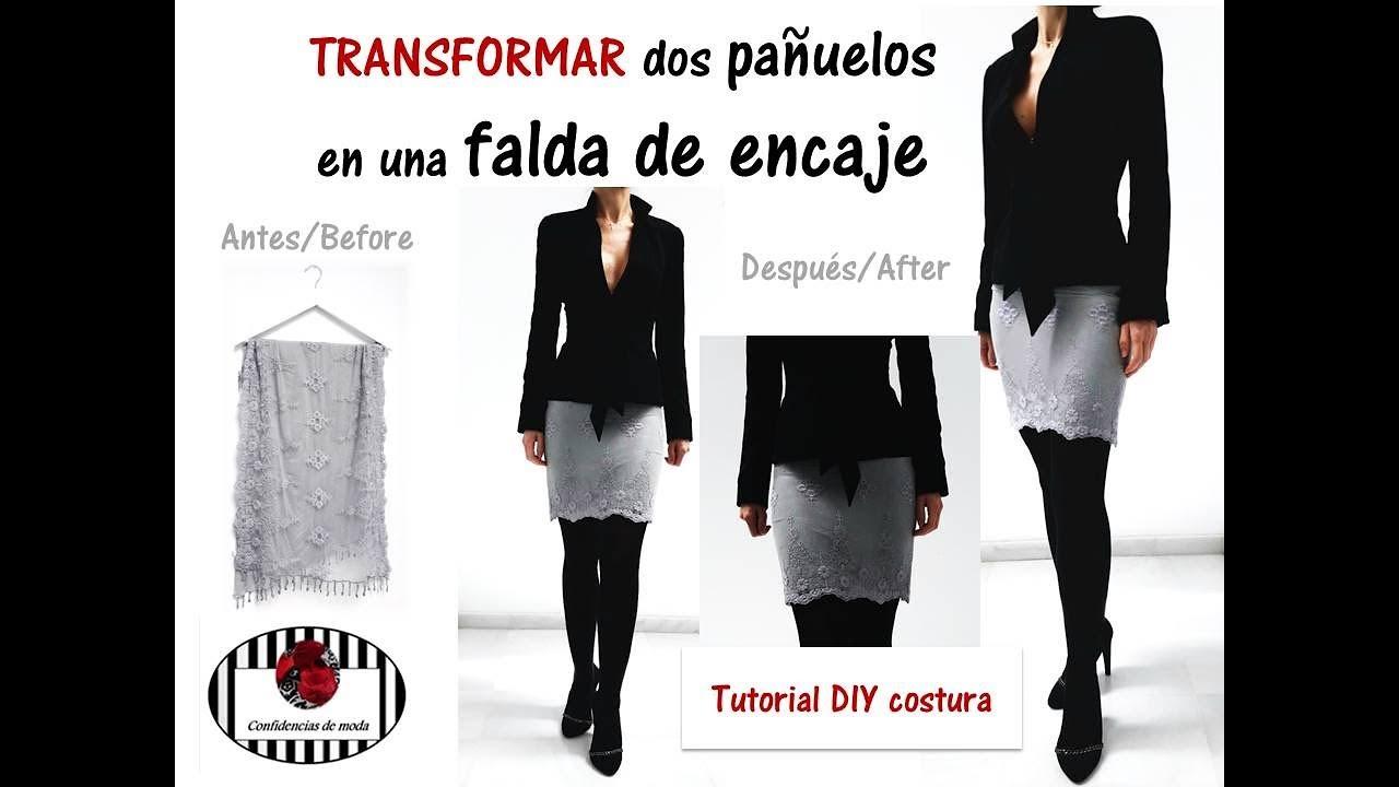 Transformar dos pañuelos en una falda de encaje. DIY (patrones y ...