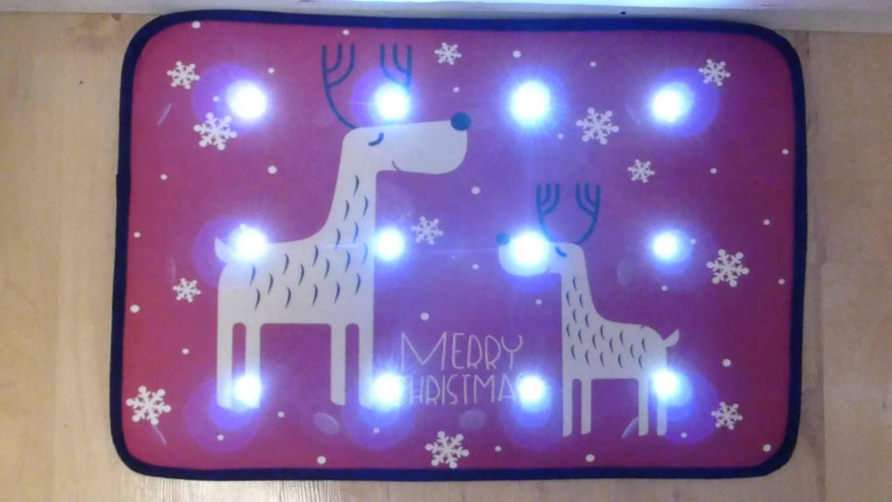 Reindeer Musical Christmas Door Mat With Led Lights 60 X