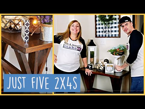 Farmhouse Entryway Table DIY | Rustic 2x4 Console Table