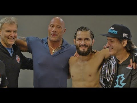 Dwayne 'The Rock' Johnson Visits Jorge Masvidal Backstage At UFC 244