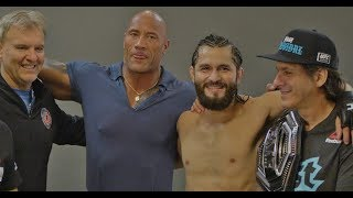 Dwayne 'The Rock' Johnson Visits Jorge Masvidal Backstage At UFC 244