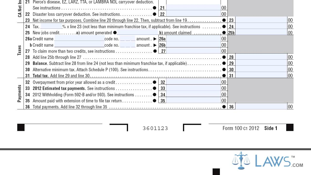 From 100 California Corporation Franchise or Income Tax Return ...