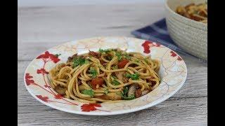 Спагетти с грибами и соевым соусом
