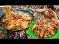 Cooking Noodle Seafood Crabs, Shrimps eating so great - Fried Noodle Crabs, Lobster Seafood recipe