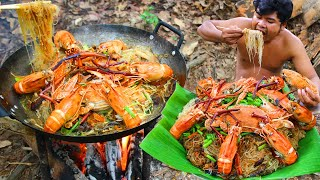 Cooking Noodle Seafood Crabs, Shrimps eating so great  Fried Noodle Crabs, Lobster Seafood recipe