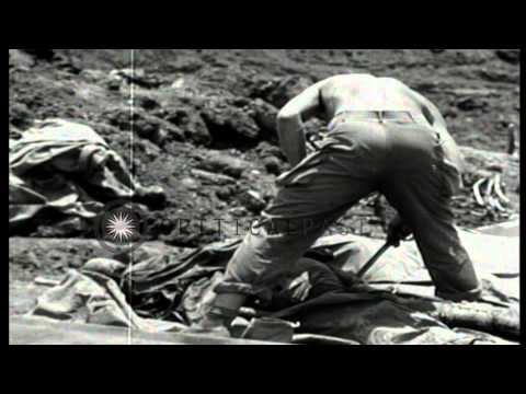 Troops of US 96th Grave Registration Unit remove dog tags and belongings from dea...HD Stock Footage