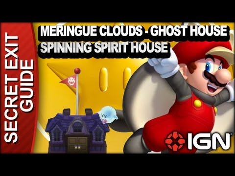 New Super Mario Bros. U Secret Exit Walkthrough - Meringue Clouds-Ghost House: Spinning Spirit House