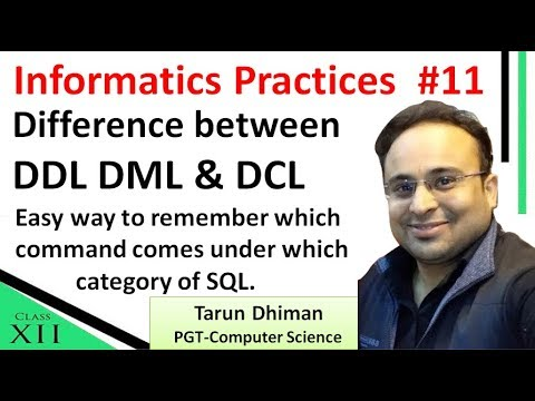 DDL, DML, DCL explained for Informatics Practices Class 12th CBSE