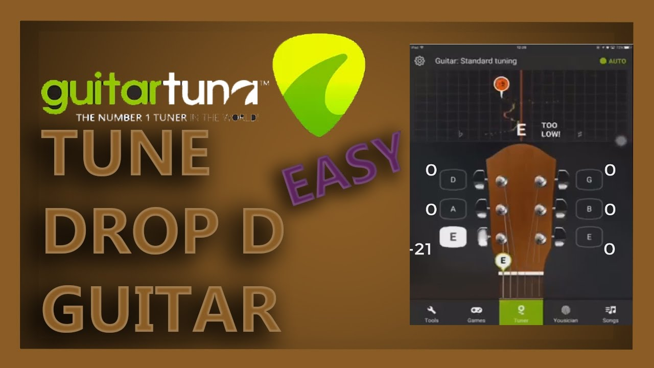 tune guitar to drop d tuning guitar tuna smartphone app easiest way youtube. Black Bedroom Furniture Sets. Home Design Ideas