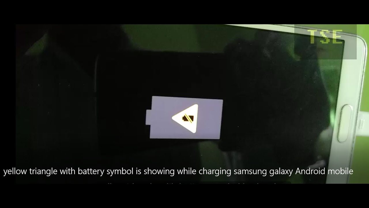 yellow triangle with battery symbol is showing while charging samsung  galaxy Android mobile