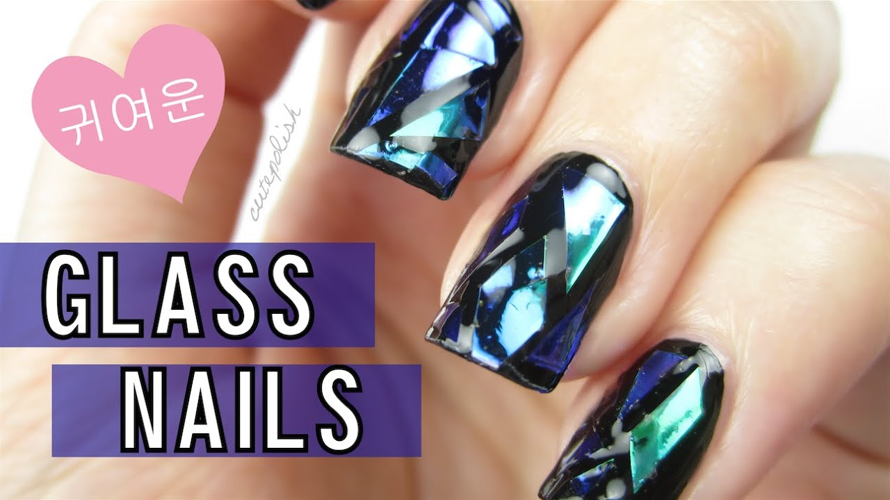 Diy Shattered Glass Nails Korea Trend Youtube