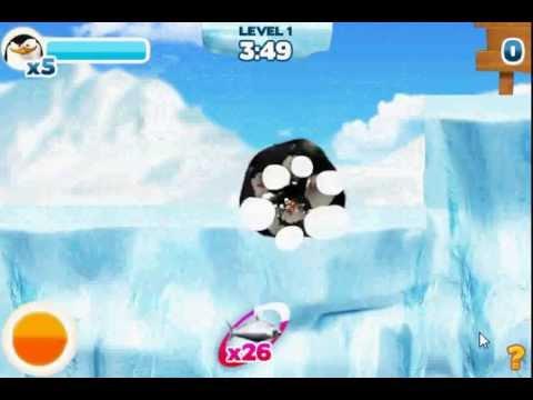 Игра Пингвины из мадагаскар катаются на пузе